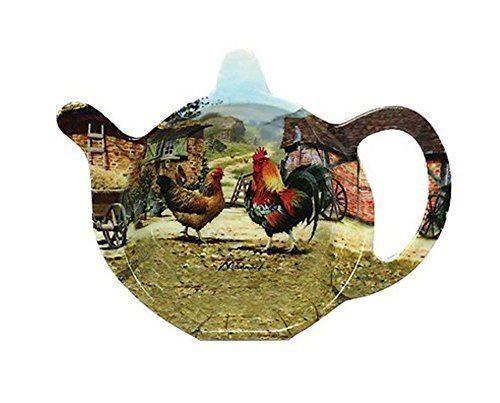 Macneil Cockerel /& Hen Farmyard Kitchen Melamine Tea Bag Tidy