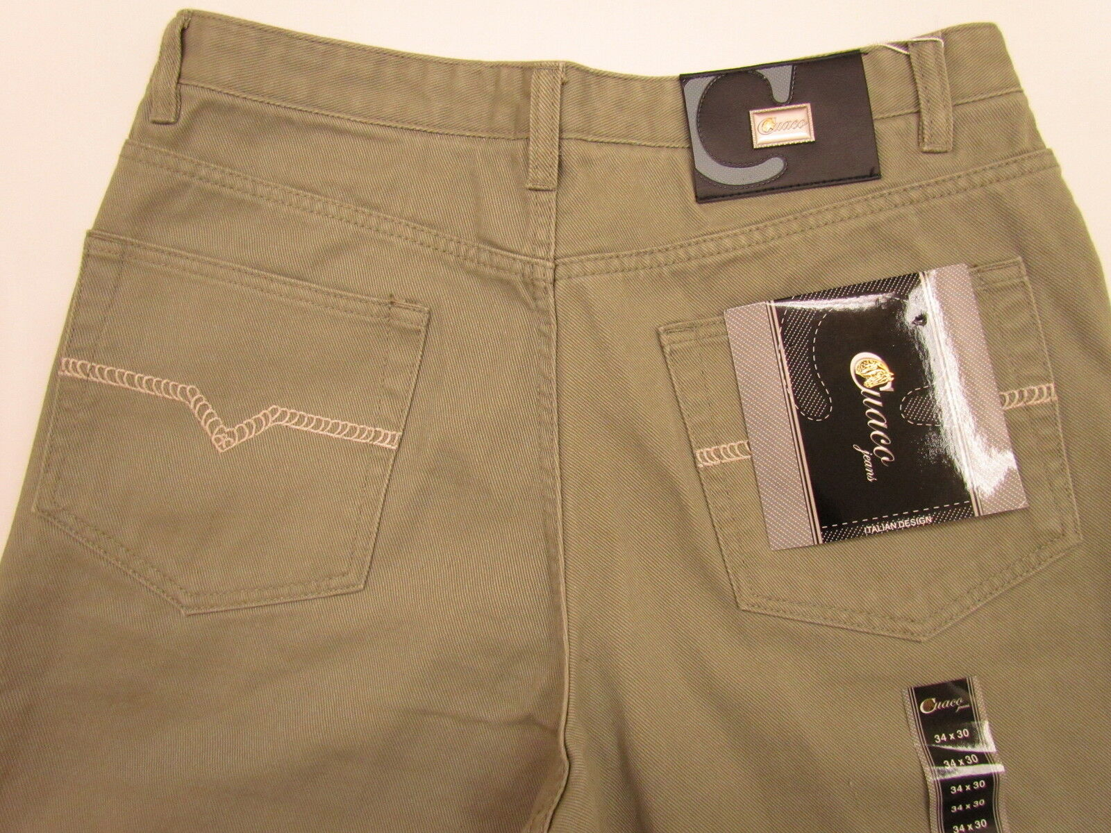 CUACO USA MENS SAGE GREEN with AMAZING ITALIAN DESIGN PANTS NWT 34 x 30