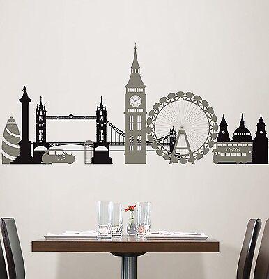 LONDON BRIDGE 27 Wall Stickers Mural City Buildings Room Decor SKYLINE Decal BR7