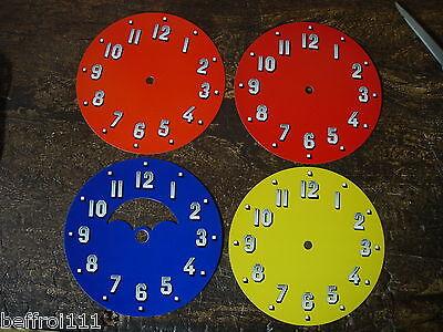 Lot 4 Cadrans Pendule Orange,rouge Et Bleu Lune Vintage Loft,70s Design Dial