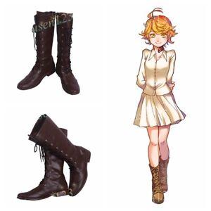 Volontaire La Promise Neverland Emma Chaussures Cosplay Femmes Bottes Cos Personnalisé-afficher Le Titre D'origine