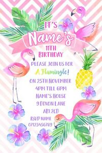 tropical flamingo party personalised invitations and envelopes x 10