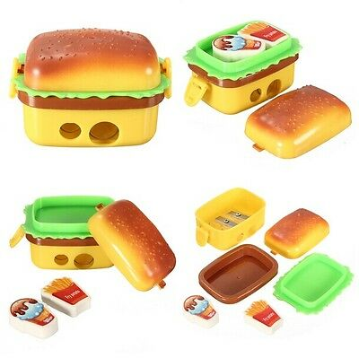 Mini Simulation Hamburger Double pencil Sharpener DOUBLE METAL with two Eraser