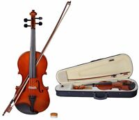 4/4 Full Size Natural Acoustic Violin Fiddle With Case Row Rosin Wood Color
