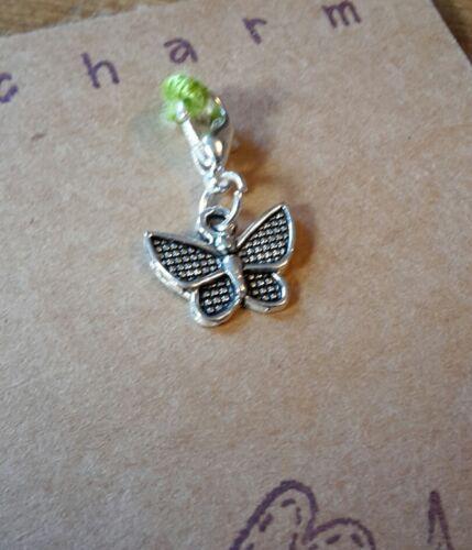 Clip del encanto de la mariposa de plata tibetana para pulsera Llavero Bolso de Mano Cartera Con Cremallera