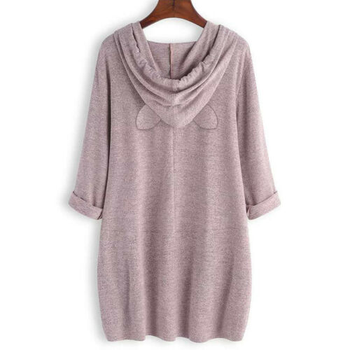 Damen Katzenohr Kapuzenpullover Sweatshirt Bluse Pulli Tunika Oberteil Longtop