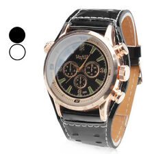 Men's Watch PU Leather Band Wrist Watch Analog Quartz Cool Unique Dress Black