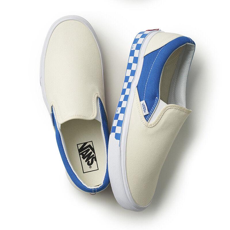 New VANS Homme SIDEWALL CHECK SLIP ON Blanc / Bleu VN0A38F7RA6 US M 7 - 10 TAKSE