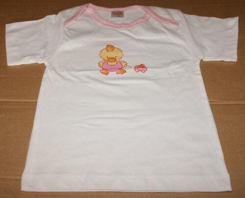 Baby Mädchen T-Shirt 3 Stück rosa weiß kurzarm Kükenmotiv GR.62//68 NEU