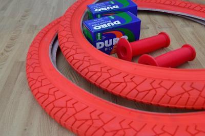 "New PAIR of 20/"" BMX Bicycle Slick WHITE Street Tires /& Tubes 20X1.95 *FREE GRIPS"