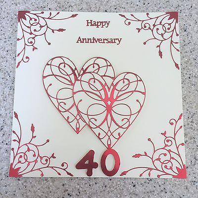 "Large Handmade China Wedding Anniversary card Happy 20th Wedding Anniversary 8/"""