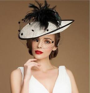 Ladies-Elegant-Kentucky-Derby-Church-Wedding-Noble-Dress-Hat-linen-feather-hat