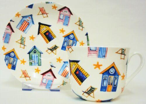 Plage Huttes Grande Tasse /& Soucoupe Porcelaine Chaises longues petit déjeuner Set main decor UK