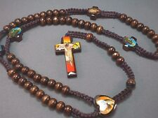 Rosary Necklace Wood Bead MACRAME Photo Crucifix Holy Images BROWN Low Stock!