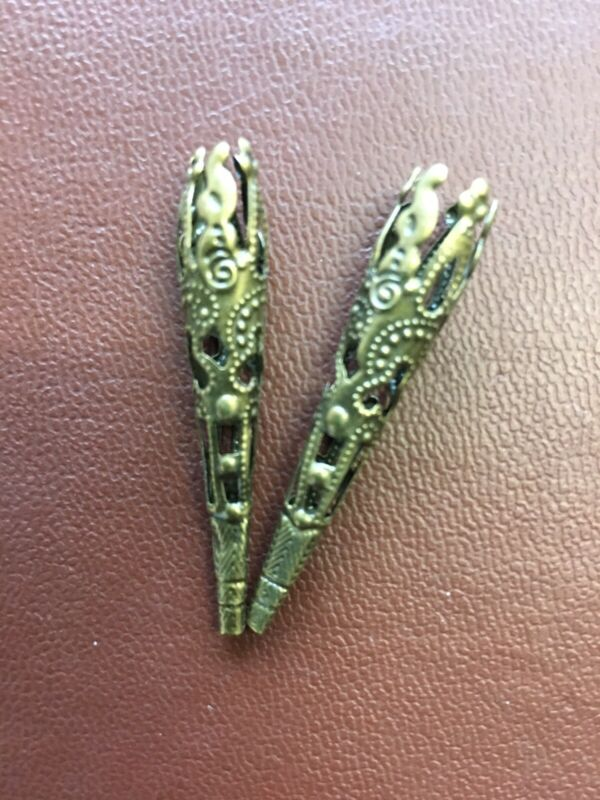 Corset Lacing Filigree Aglets Antique Brass Or Gold, Pair