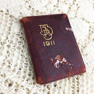 Antique Miniature Book Bailey Banks Biddle Calendar 1911 Art Nouveau Red Leather