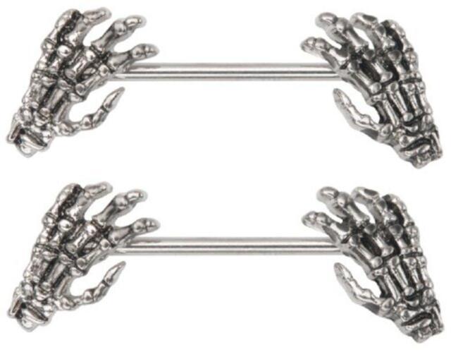 1 Pair Punk Skull Hands Nipple Ring Barbell 14g Skeleton Hands Nipplerings