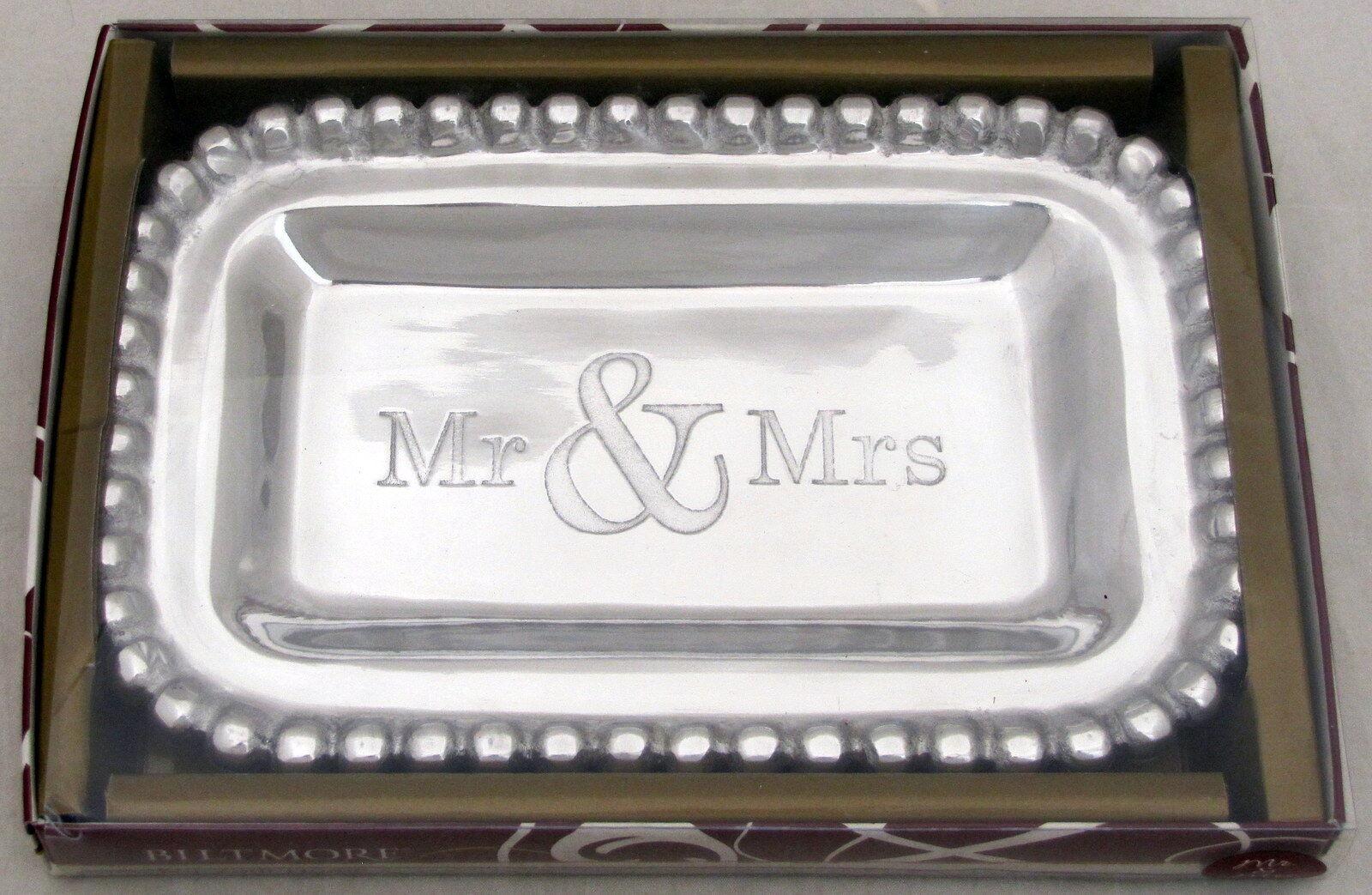 Biltmore Mr Mrs Wedding Decorative Serving Tray Pewter Silver Metal 10 X 6 5 For Sale Online