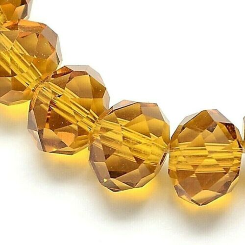1 Filamento De Vidrio Cristal Dorado 6mm Perlas Facetas Rondelle Cuentas 95