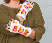 Nirvanna Designs Fleece-lined Handwarmers Floral Hand-crocheted Wool White Multi