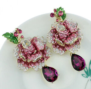 Painted-Rose-Pink-Austrian-Chandelier-Rhinestones-Dangle-Earrings-Studs-E124p