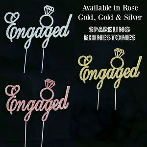 Rhinestone-ENGAGED-Cake-Topper-Rose-Gold-Gold-Silver-Engagement-Ring