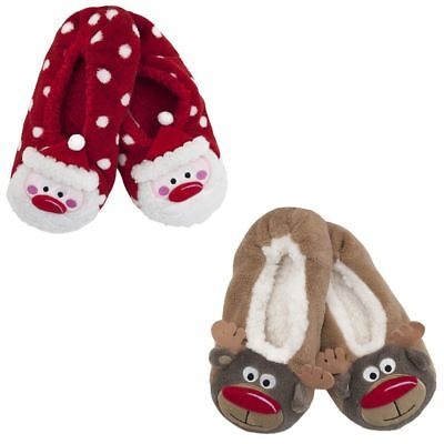 Selbstlos Womens Ladies Girls Cosy Slippers Socks Novelty Reindeer Santa Festive Christmas SchöNe Lustre
