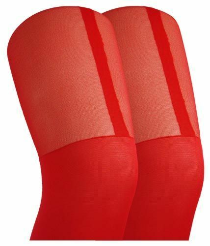 RED MISSI MOCK STOCKING SUSPENDER TIGHTS ONE SIZE CHRISTMAS MISS SANTA ACCESSORY