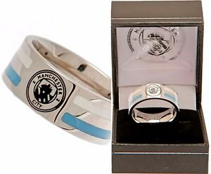 MANCHESTER CITY FC STAINLESS STEEL COLOUR STRIPE BAND  RING GIFT BOXED MAN  MCFC
