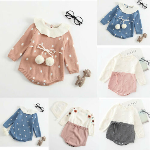 NEW Newborn Baby Girl Dot Knit Winter Romper Bodysuit Crochet Clothes Outfit