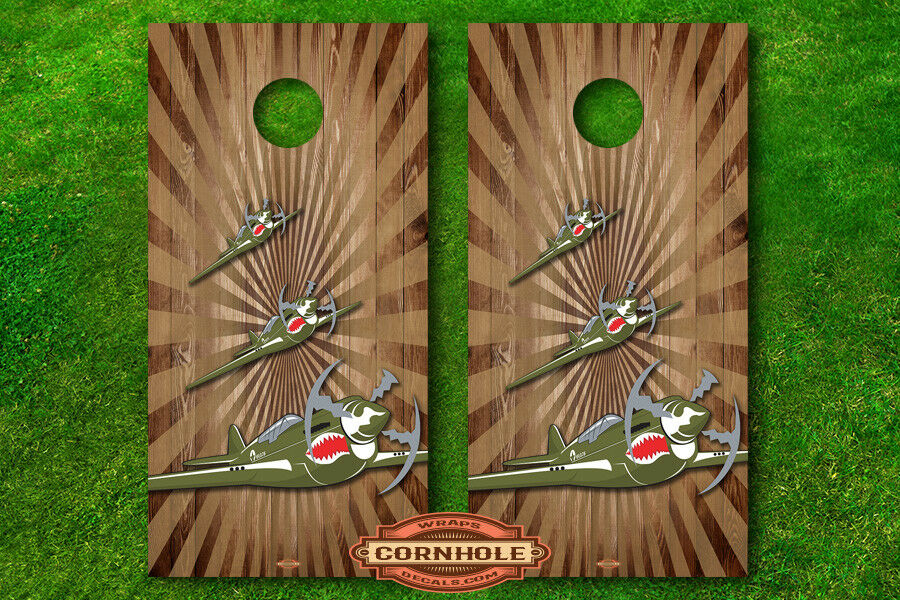 VINYL WRAPS Cornhole Boards DECALS Flying Tigers p-40 WW2 Fighter Airplanes