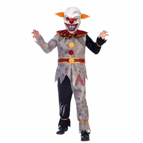 Kids Evil Clown Scary Horror Circus Halloween Boys Fancy Dress Costume Teens
