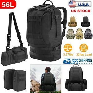 55L-4in1-Molle-Outdoor-Military-Tactical-Bag-Camping-Hiking-Trekking-Backpack-US