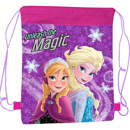Girls Disney Frozen Magic Drawstring Sports Bag Swim Bag Gym Plimsoll School Bag