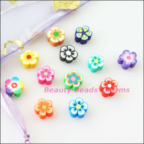 45Pcs Mixed Handmade Polymer Fimo Clay Star Flower Flat Spacer Beads Charms 8mm