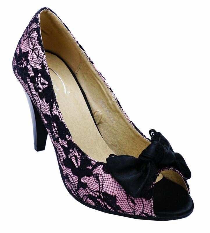 Ladies Negro Rosa Superposición De Encaje Noche Formal Boda Elegante Zapatos Tallas 3-8