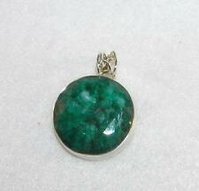 Genuine Emerald Faceted Cabochon Large Round Pendant Sterling Silver