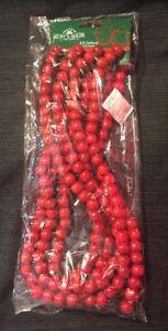 MULTIPLES Kurt Adler BRIGHT RED Wood Cranberry Bead Garlands Christmas Tree 9'