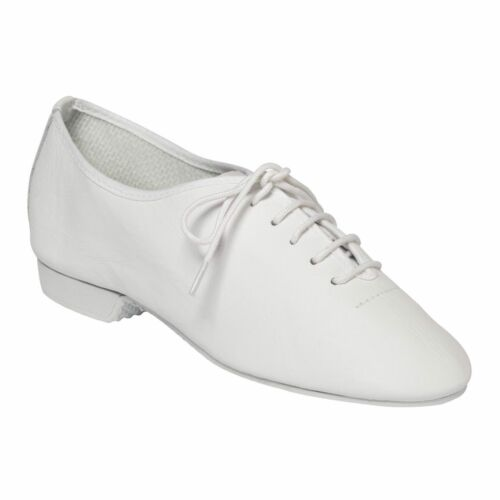 MODERN DANCE SHOES WHITE LEATHER RUBBER SOLED JAZZ JUNIOR 7 - ADULT 11