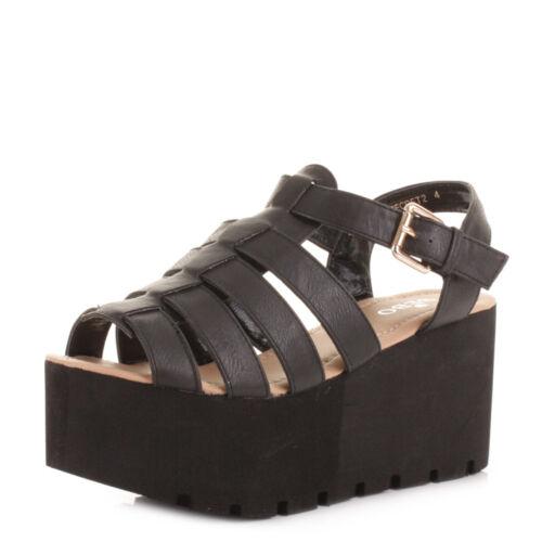 Womens Platform Wedge Heel Strappy Gladiator Sandals Shoes High Heeled Size 3-8