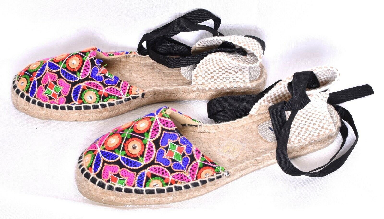 MANEBI Women's Mirror Embellished Canvas Espadrilles shoes (Size 38   7.5)  NEW