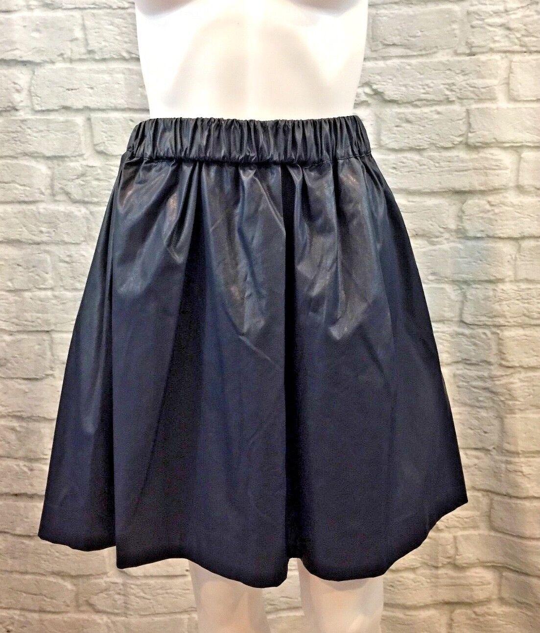 NWT MSGM  Navy bluee Faux Leather Pleated Midi Skirt Size Medium 42