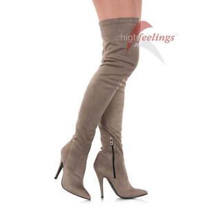 overknee stiefel taupe grau high heels 11 13 5 cm absatz velours gr 36 46 ebay. Black Bedroom Furniture Sets. Home Design Ideas