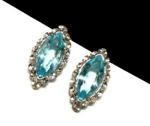Vintage-REJA-Sterling-Silver-Aquamarine-Crystal-Marquise-Rhinestone-Earrings