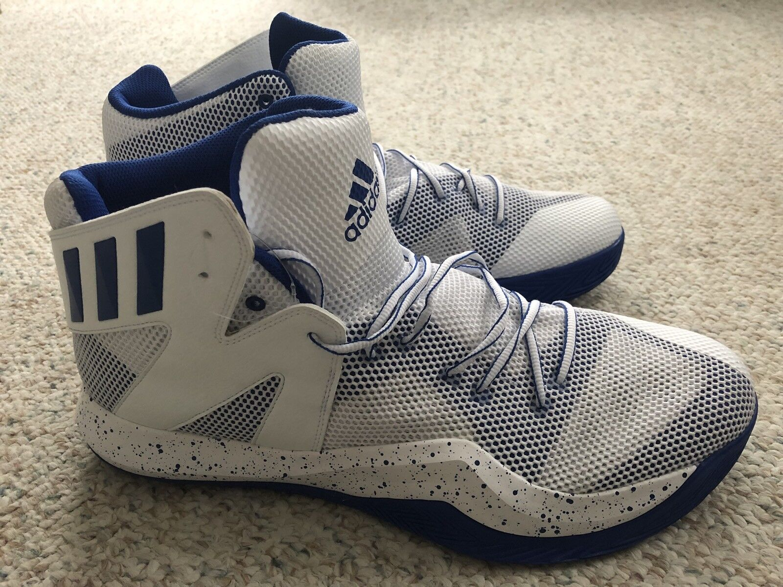 New Mens 16 ADIDAS Crazy Bounce Mid White Blue Basketball Shoes  B39301