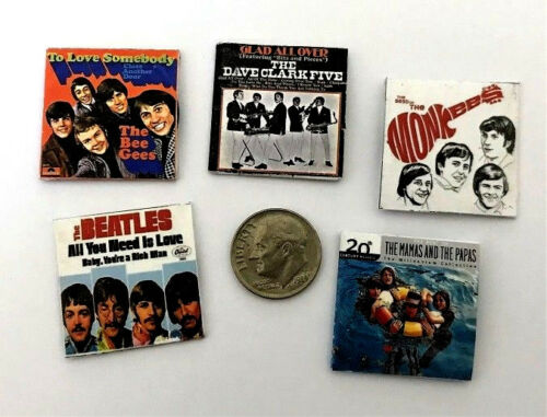 """Dollhouse Miniature Overstock Lot Sale /""""Record/"""" Albums with /""""Records/"""" #12 1:12"""