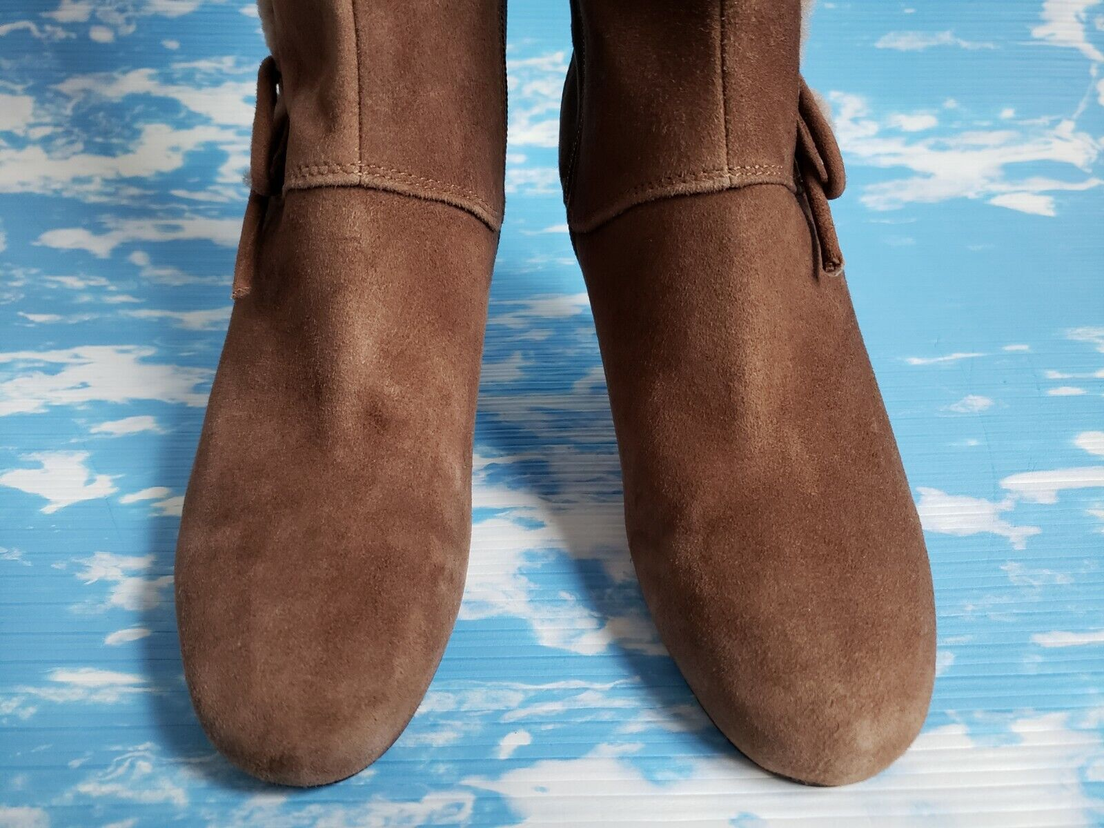 NWOB NWOB NWOB  225 CIRCA JOAN & DAVID BROWN SUEDE LEATHER FUR TRIM LACE UP ZIP BOOTS 7 M e25882