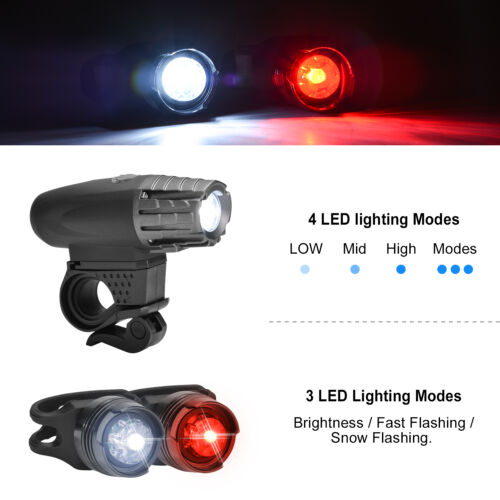 LED Bicycle Bright Bike USB Rechargeable Front Headlight and 2Rear TailLight Set