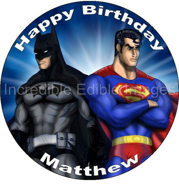 Batman vs Superman Dawn of Justice Personalised Edible ICING Cake Topper Party