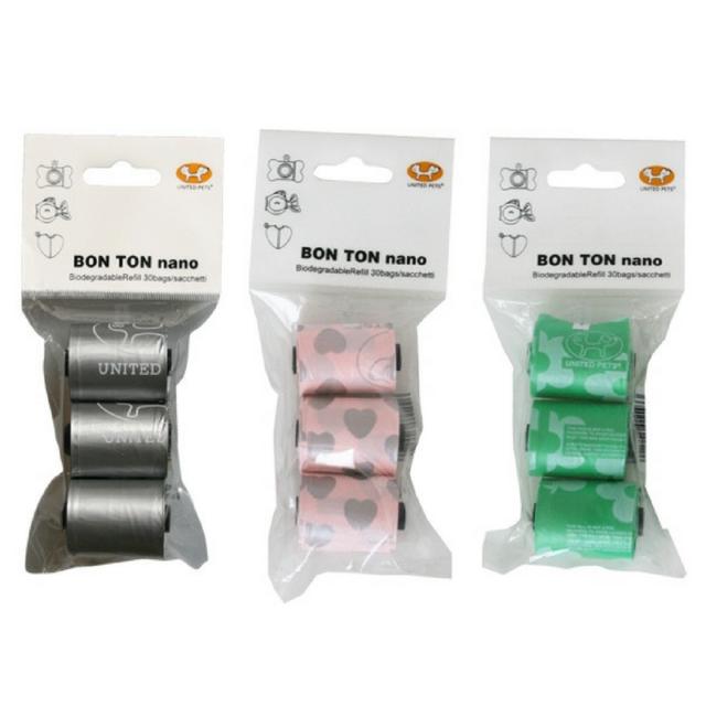 United Pets Bon Ton Waste Bags | Nano in Green, Metal, Pink